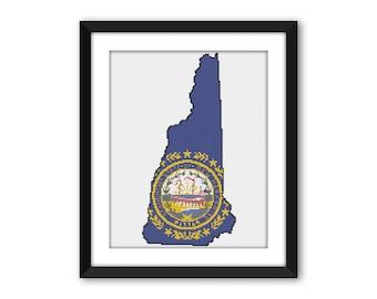 PDF - New Hampshire State Flag Cross Stitch Pattern