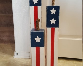 A Set of 3 Americana Wooden Firecrakers / 4th of July  Memorial Day / Labor Day / Veteran's Day