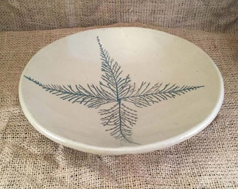 Stoneware Serving Bowl with Leaf Impressions