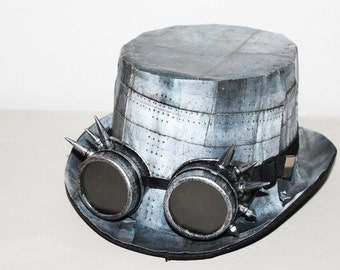 Hat steam punk imitation plate metal with glasses tipped