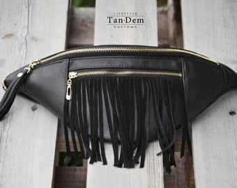 Handcrafted real leather tassel waist bag / bum bag / hip bag / fanny pack