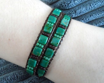 Leather double wrap tile bracelet