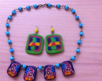 Fimo necklace and earrings