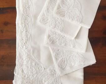 100% Linen Battenburg Lace table cloth and 4 napkins set