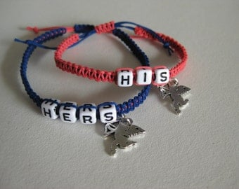 Couple Bracelets, His Hers Bracelets, Love Angle Gift for her him