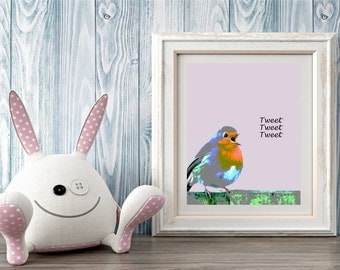 Tweet Bird, Digital print, Nursery wall art, Printable art, Gift
