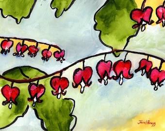 Original Artwork,Bleeding Hearts painting 11x14, matted, 16x20