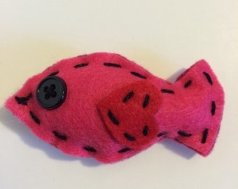 Pink fish cat toy