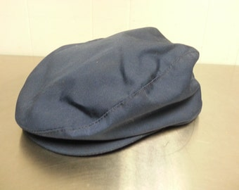 True Vintage Union Made Newsboy Cabbie Hat Linen Dark Navy Blue Size Large 7 1/4 - 7 3/8 Made in USA Drivers Cap Hipster