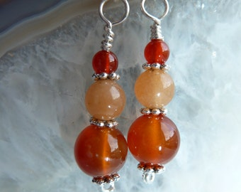 Hand made semi precious Carnelian and Red Aventurine gemstone bead and Sterling silver earrings