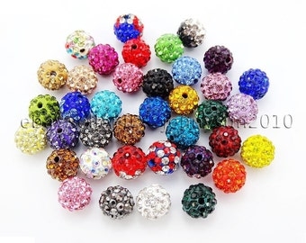 20Pcs Quality Czech Crystal Rhinestones Pave Clay Round Disco Ball Spacer Beads (US ONLY)