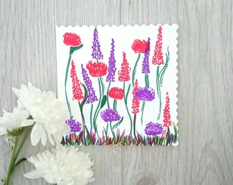 Floral and flora greetings card. Hand drawn, one of a kind. Perfect for any occasion!