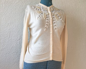 1950s vintage beaded wool cardigan / sweater ** SIZE: small/medium