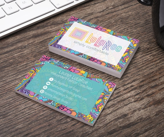 Lularoe business card horizontal colorful by mommydesignstudio for Lularoe name cards