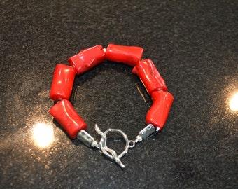 Red Coral Beaded Bracelet