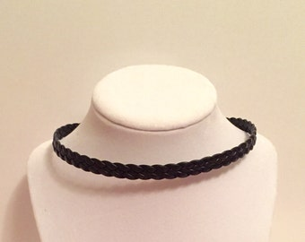 Braided Brown Leather Choker