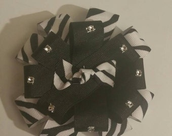 3 1/2 inch zebra and black round bow