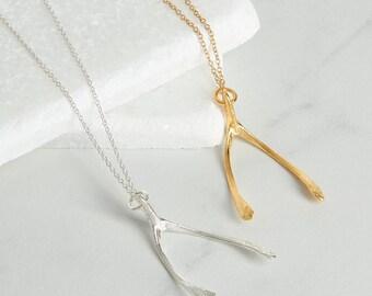 Wishbone pendant in silver or gold, talisman, good luck charm.