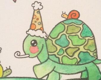 Slow Dancing with Turtle & Snail- Original Watercolor