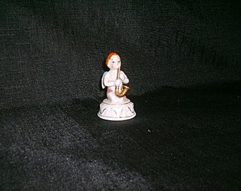 Antique Angel Playing Saxophone Figurine Japan Small Ca 60s