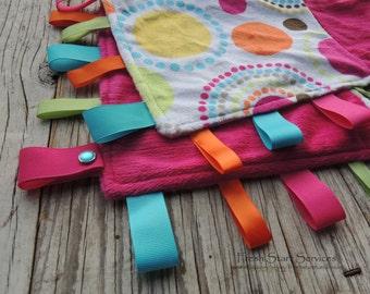 Bright Pink Blanket, Ribbon Sensory Blanket, Minky Blanket, Taggie, Lovey
