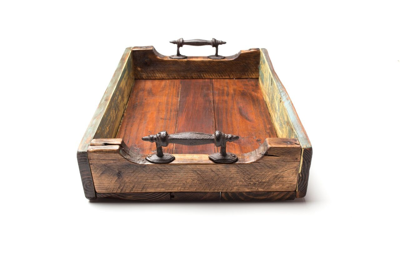 Wooden Tray With Metal Handles