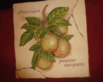 hand painted wall plaque of apples & leaves size 17cm sqaure