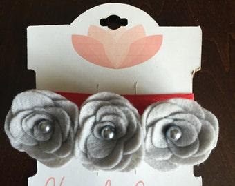 Gray 3 Felt Flower Headband