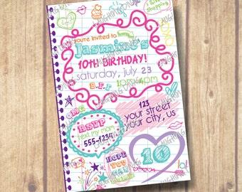 Doodle Notebook Sleepover Invitation; Tween Teen Birthday Invite, Scribbles and Fun