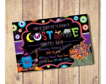 Kids Halloween Party Invitation; Kids Halloween Birthday Party Invitation; Monster Bash Party Invite, Kids Halloween Costume Party