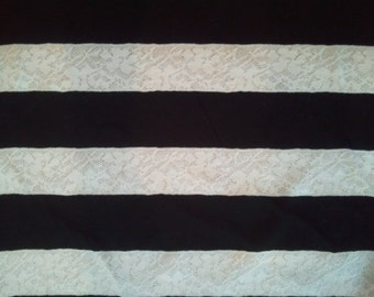 Black & Cream Lace Stripe Knit