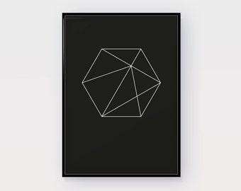 Hexagonal Art Print, Printable Wall Art, Black and white, Modern Wall Art, Minimalist Art, Geometric Print, Geometric Art, Digital Print, BW
