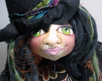 Halloween Cloth Art Doll Bust, Fantasy Fairy Witch OOAK