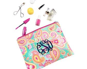 Monogram cosmetic bag, Paisley Zip Pouch, monogram makeup bag, personalized accessory bag, bridesmaids gift idea