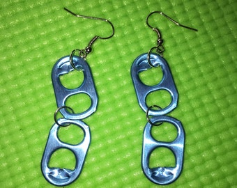 Upcycled Blue Soda Tab Earrings