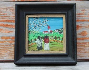 Springtime Original Signed Folk Art Naive Art Small Framed Painting on Canvas Spring Scene 1981 G. Kaiser Munich German Shipping Included