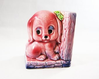 Kitschy Cute Pink Puppy Bookend
