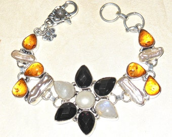 Glam Bracelet – Multi-Stones – Amber Crystal – Biwa Pearls – Black Onyx