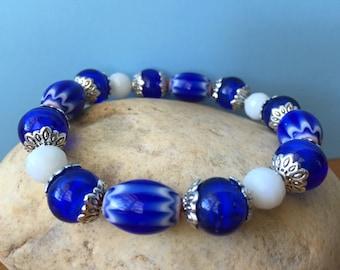 Blue & White Bracelet, Chunky Bracelet, Beaded Bracelet, Stretch Bracelet, Boho Bracelet, Stacking Bracelet, Vintage Style Bracelet