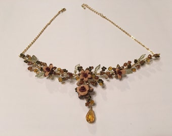 Vintage floral fairy necklace