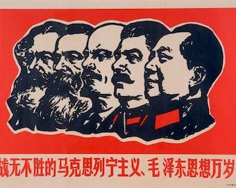 Communist Propaganda Chairman Mao Stalin Lenin Political Poster Revolution Art Reproduction Print A3 A4