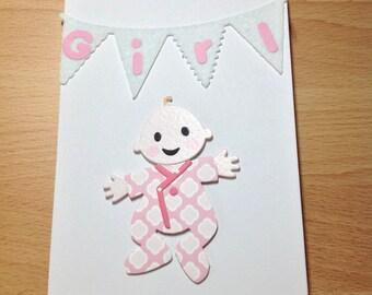 Handmade Baby Girl Card. Baby Girl . New Baby . Baby Shower . Keepsake Card