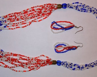 American Beaded necklace with earings