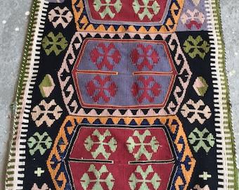 3'2''x1'7'' Small Vintage Kilim , Handwoven Kilim rug , Bohemian rug , Colourful kilim