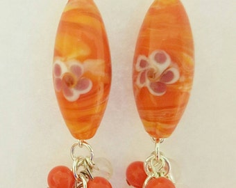 Orange Lampwork Cluster Earrings