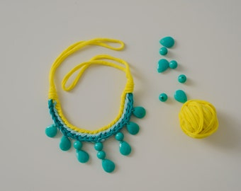 Yellow and blue textile necklace 100% cotton necklace with beads colorful necklace