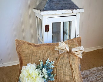 Burlap and lace ring bearer pillow