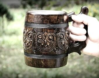 Beer mug, wooden beer mug, Wooden oak beer mug with metal cup inside, Groomsmen gift, wooden mug with metal inside, unusual mug, Carved mug