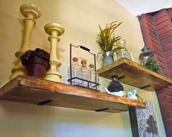 Set of 2 Deep Industrial Floating Shelves, Rustic Shelf, Wood Shelf, Kitchen, Bathroom and Living Room Wall Shelves