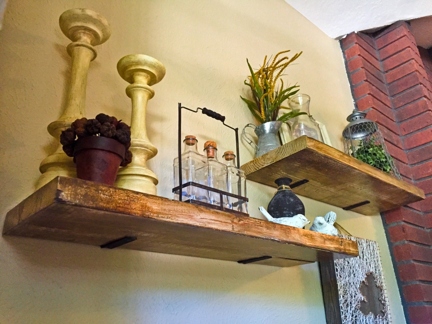 deep industrial floating shelf rustic shelf wood shelf kitchen bathroom and living - Floating Shelves In Living Room